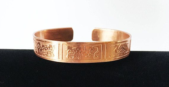 Rose Gold Copper Cuff with Stamped Design Vintage Copper Jewelry