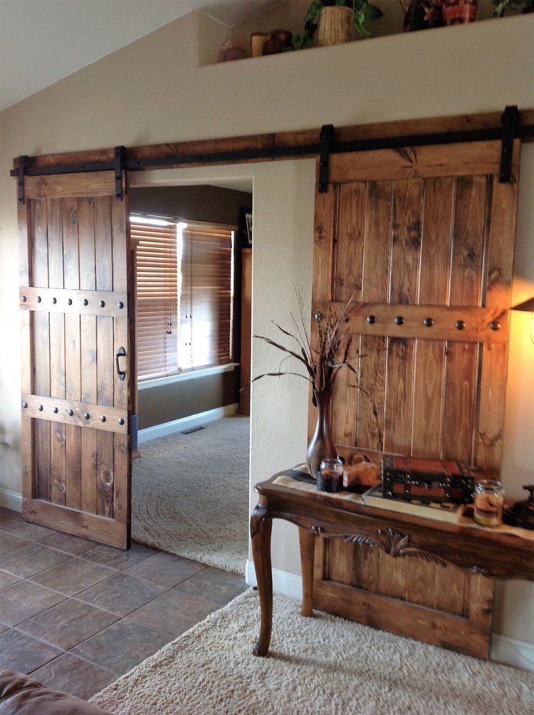 Rustic Stained Knotty Pine Sliding Doors