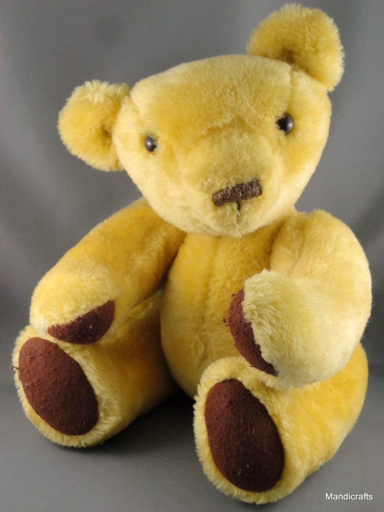 Germany Teddy Bear 38 cm Yellow Plush Growler Jointed 1970s no ID Vintage
