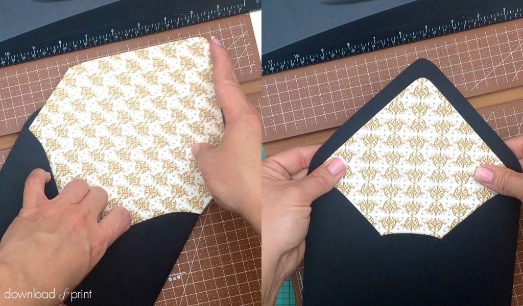 Free Gold Vintage Wedding Envelope Liner Download \ Print - sample envelope liner template