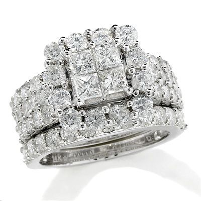 My Dream Wedding Set. Princess Cut Quad Diamond Frame Bridal Set In White  Gold   View All Rings   Zales