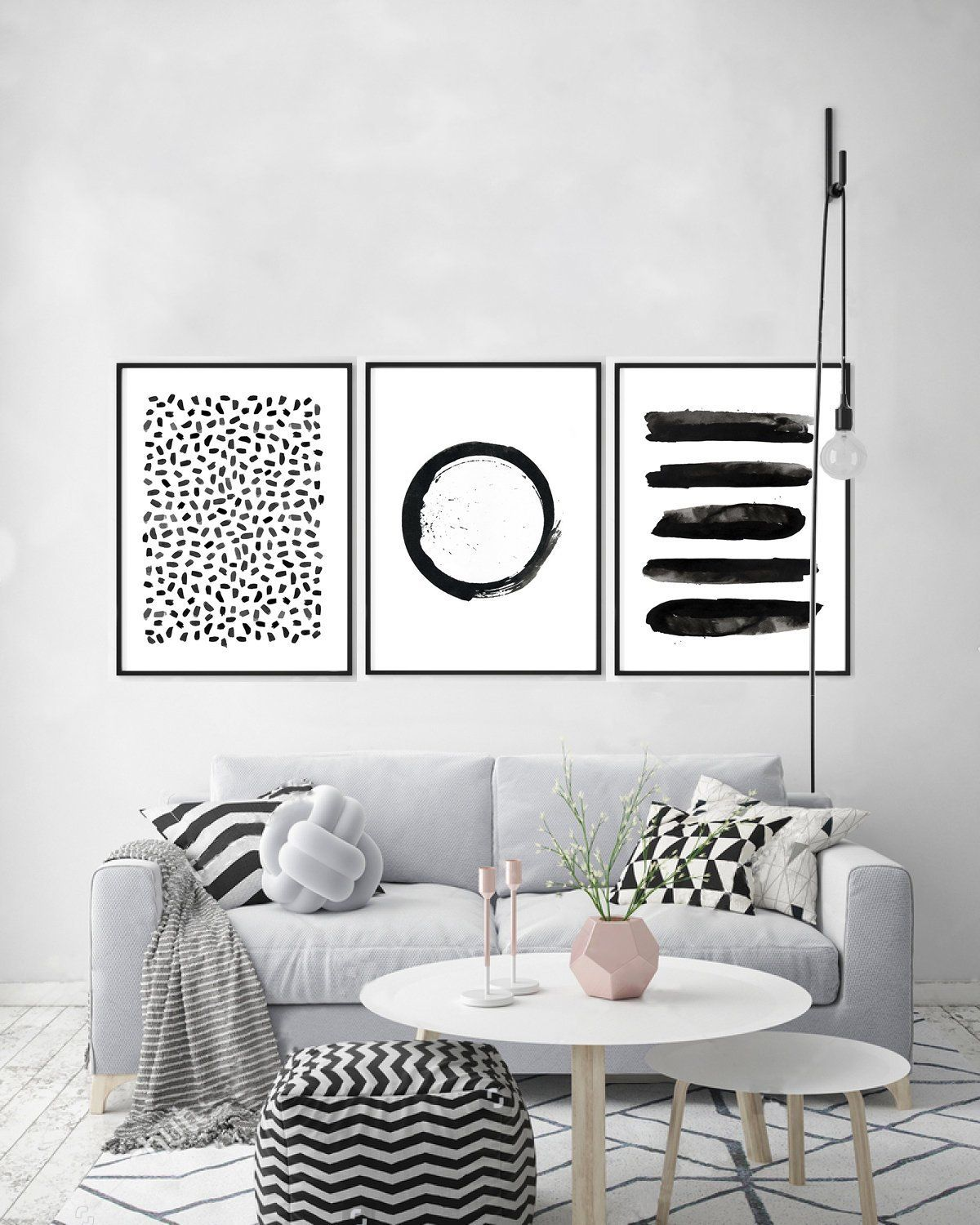 Black and White Wall art Abstract Prints Set of 3 Dots Print, Circle Painting, Stripes, Geometric Wall art, Minimalist art, Scandinavian art