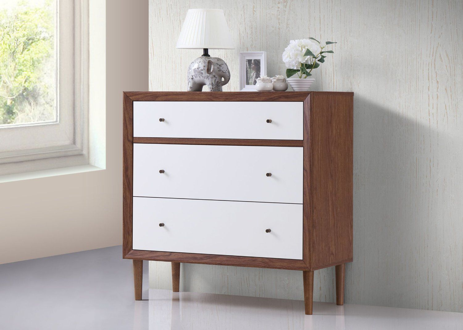White And Walnut Bedroom Furniture Baxton Studio Harlow Mid Century Modern Scandinavian Style White