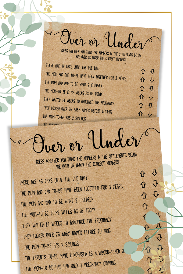 Editable Over or Under Over or Under Baby Shower Game Baby