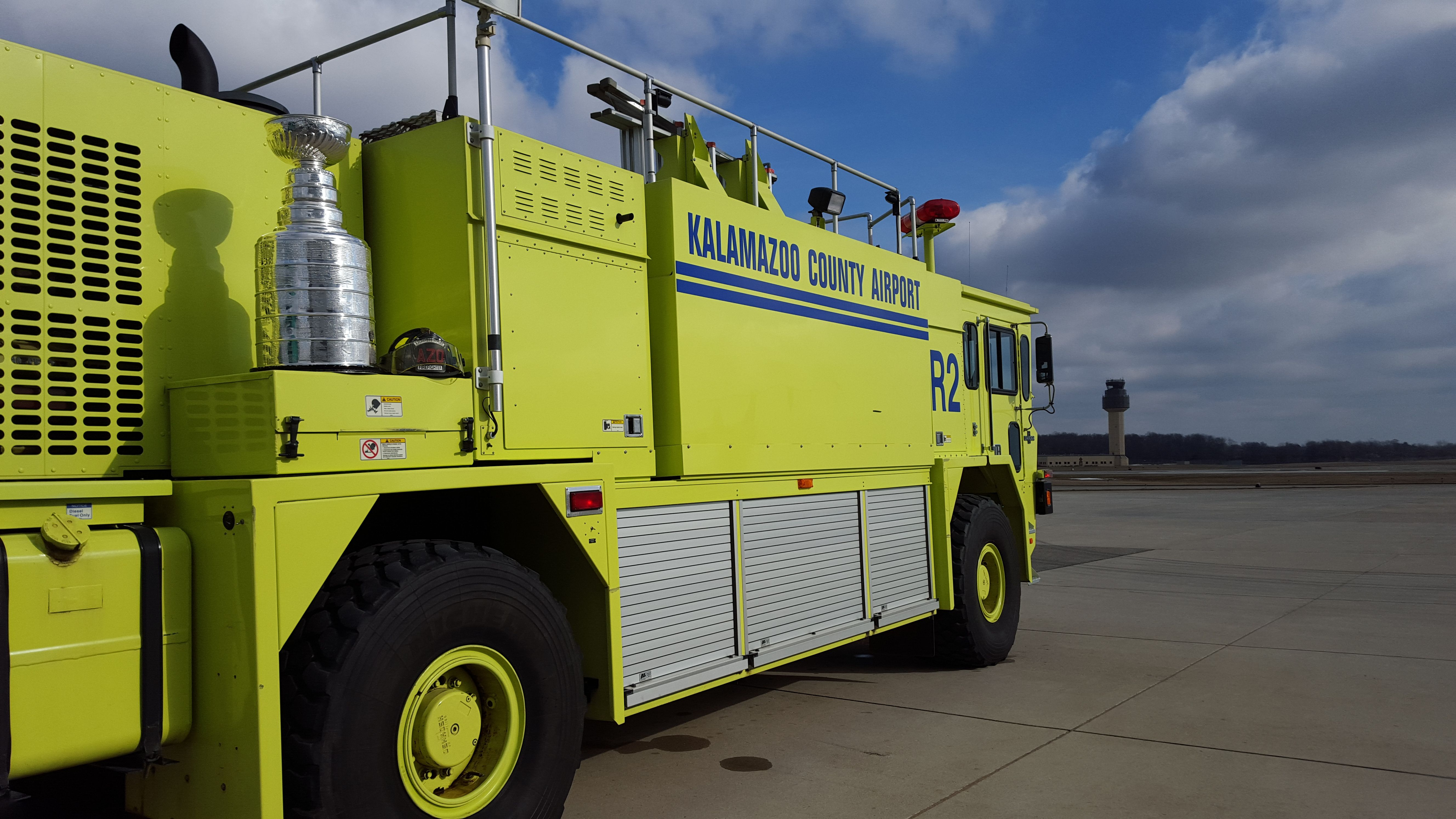 Stanley Cup at the Kalamazoo/Battle Creek International Airport in Kalamazoo Michigan with Rescue 2