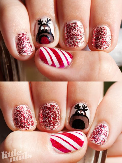 Little Nails Reindeer And Candy Canes Design Nail Art Christmas