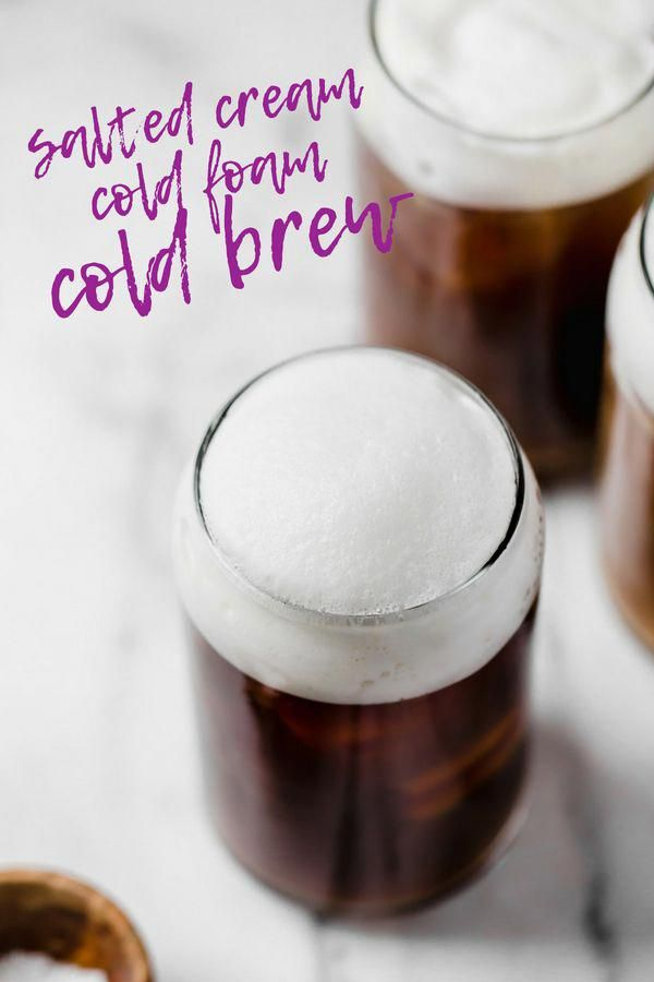 an easy & natural recipe for homemade starbucks salted cream cold foam cold brew with only 4-ingredients! cold brew coffee, lightly sweetened with maple syrup, topped with a creamy salty-sweet cold foam, this salted cream cold foam cold brew coffee is the perfect salty-sweet coffee drink!