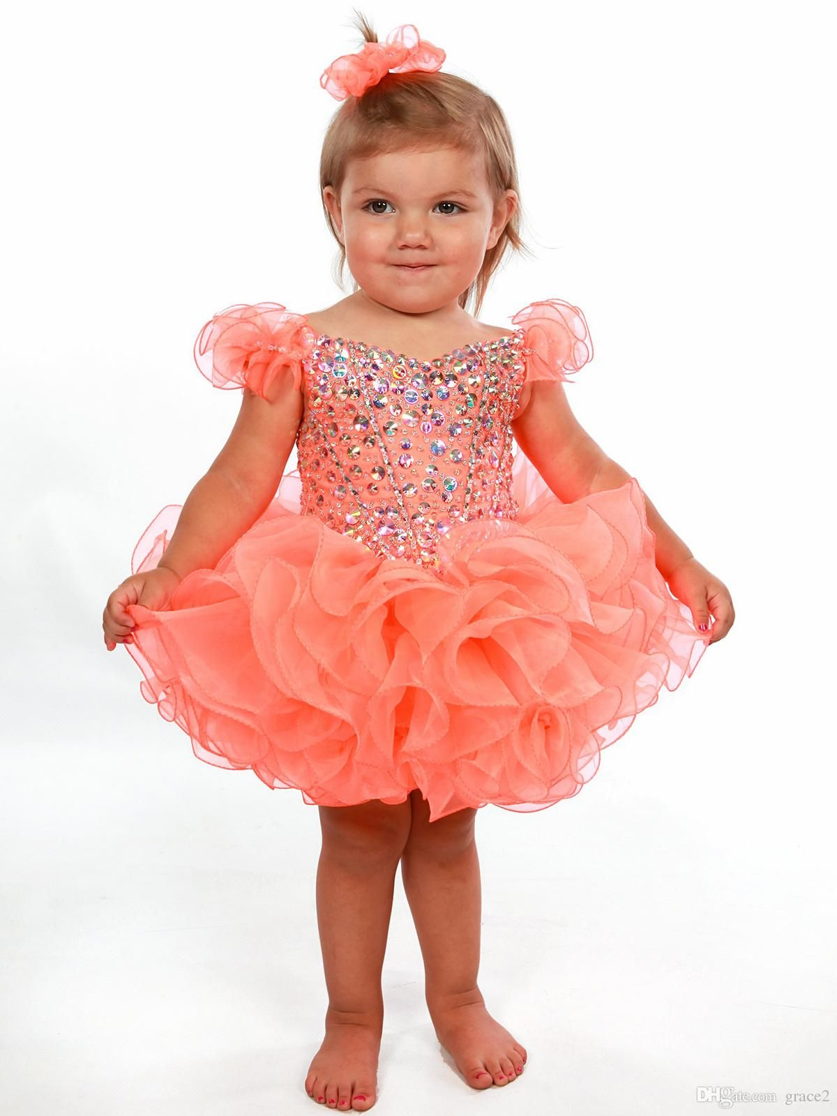 0eb0e6a3c Toddler Glitz Pageant Dresses 2017 With Ruffled Sleeves And Shiny ...