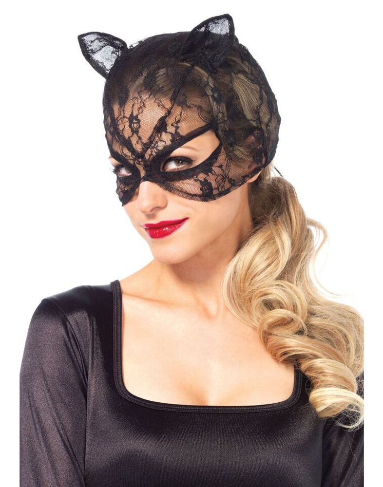 Black Lace Cat Mask With Lace Up Back Womens Costume Accessory ...