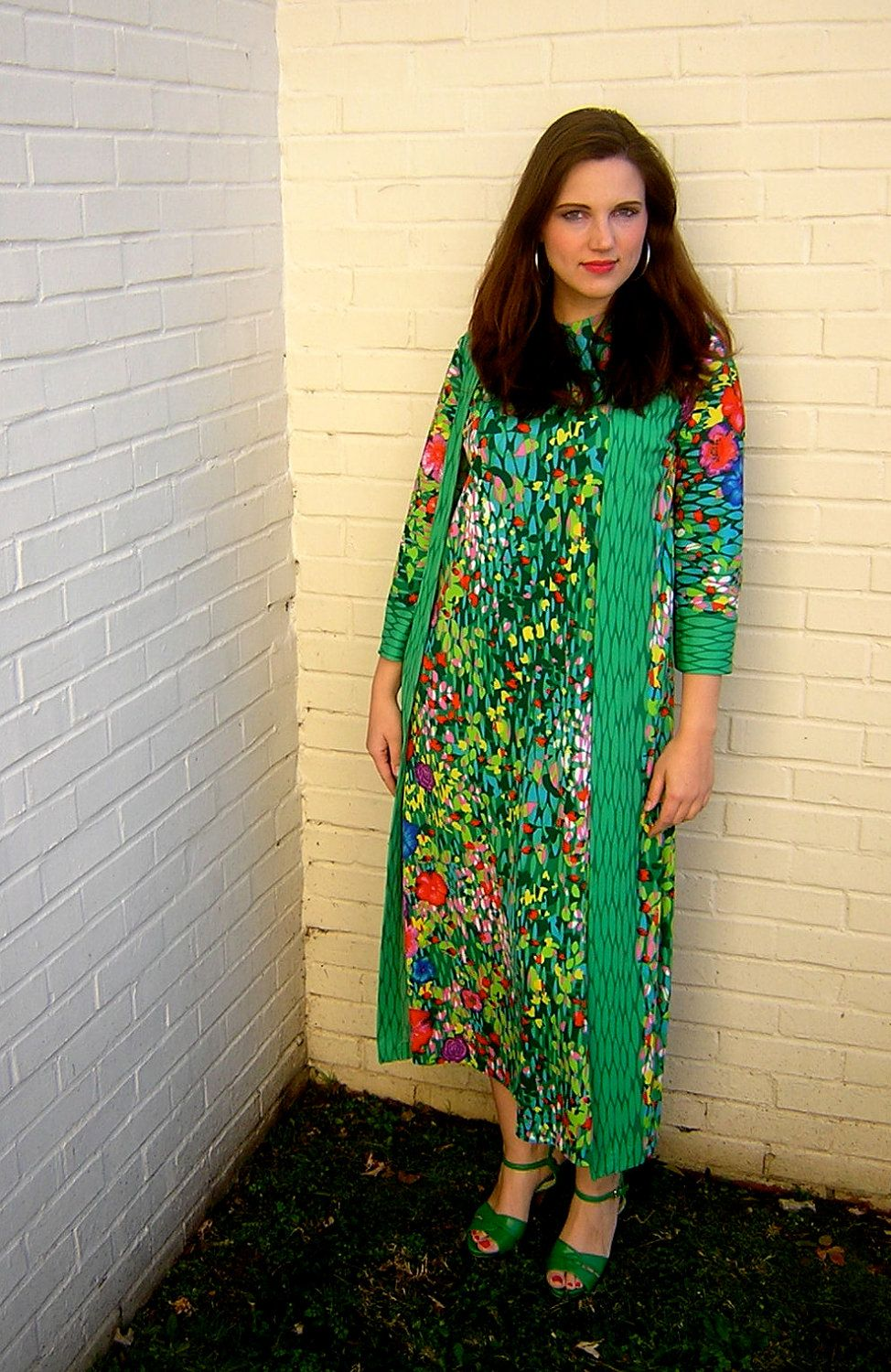 Vintage 1960s retro floral mod wrap / 2-in-1 psychedelic maxi dress / gown. $158.00, via Etsy.