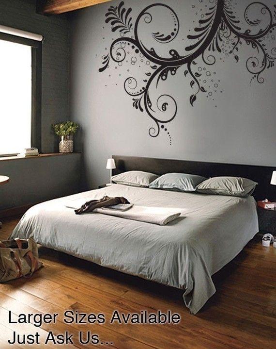 Vinyl Wall Decal Sticker Flower Floral Swirl Item 310a Wall Decals For Bedroom Wall Decor Bedroom Bedroom Wall