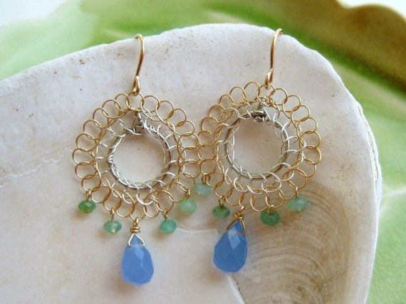 Wire Crochet Earrings - blue and green stones - Flamenco (small size) --- SerasiJewelry on Etsy $49.99