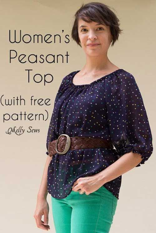 Women\'s Peasant Top - Free Sewing Pattern | Peasant tops, Sewing ...