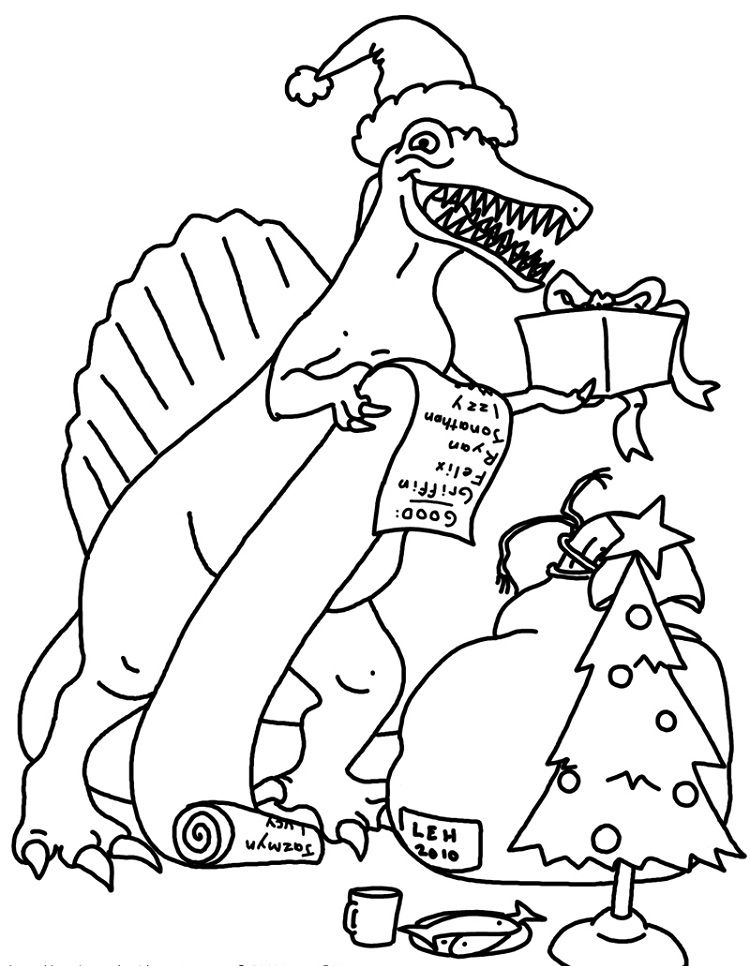 christmas dinosaur coloring pages