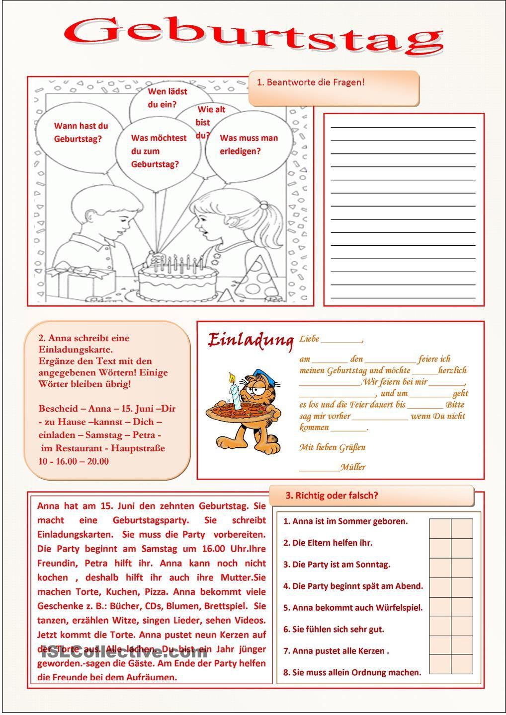 Geburtstag | 2.Klasse | Pinterest | Geburtstage, Deutsch und Deutsch ...