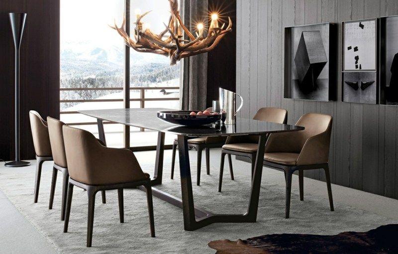 Salle à Manger Moderne Et Sombre Idées élégantes à Emprunter - Chaises italiennes salle manger pour idees de deco de cuisine