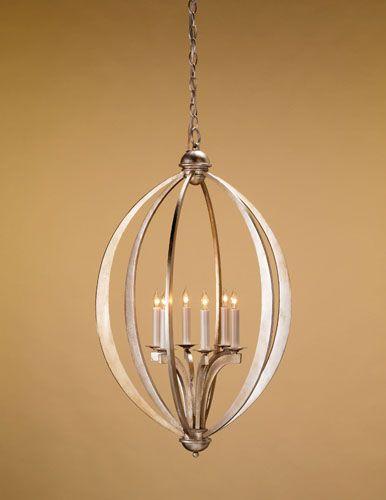 Currey & Company Bella Luna 6 Light Chandelier in Contemporary Silver Leaf 9483 photo