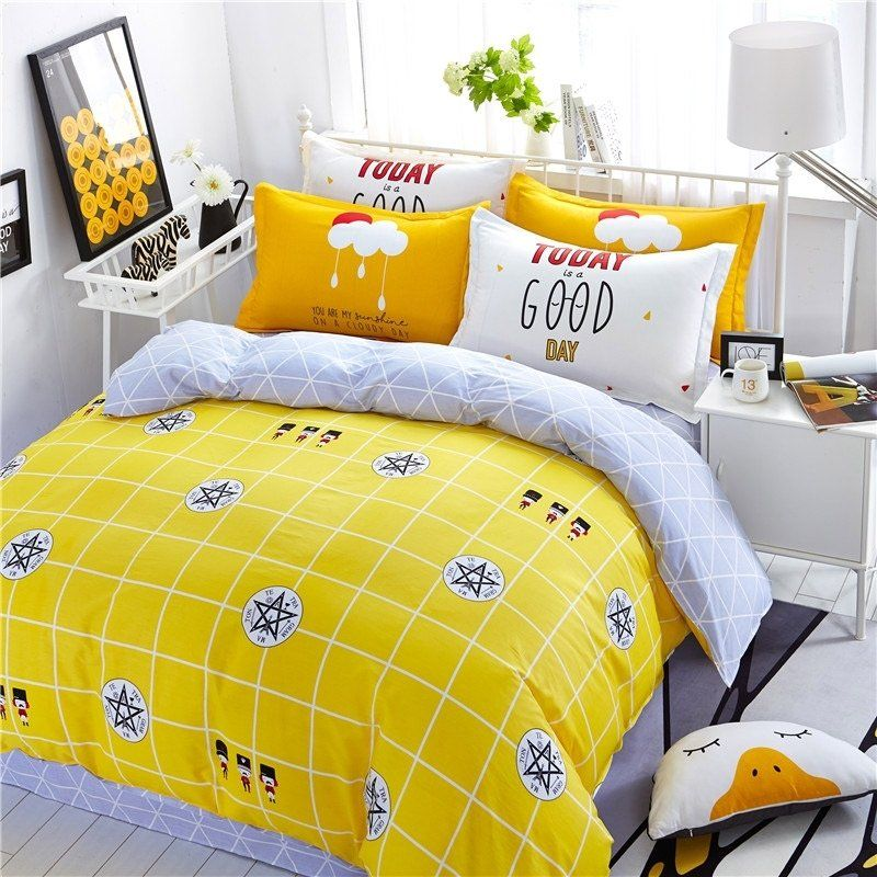 Unusual Lemon Yellow Black White And Silver Gray Window Pane Plaid And Medallion Print Durable 100 Cotton Twin Full Size Beddin Bed Bedding Sets Bed Spreads