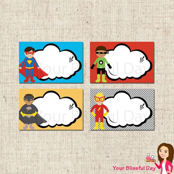 Superhero Classroom Decor Printables : Printable superhero label tents by yourblissfulday on etsy