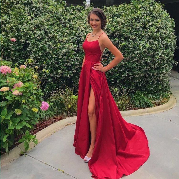 2c5ccd6a1573d 2019 Simple Sweetheart Spaghetti Straps Red Long Prom Dresses With Slit,Girl  Evening Dress on