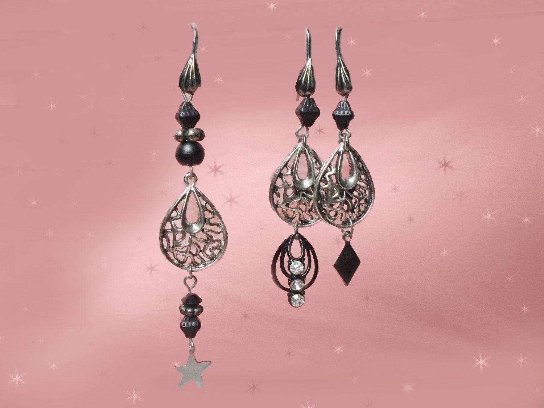 Vintage Dangle Earring Set  Ooak Three Earrings For Multiple Piercings   Black & Silvertone By