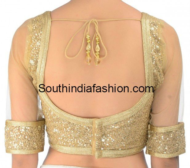 gold_sequins_blouse_with_net_sleeves | Saree Blouse Designs ...