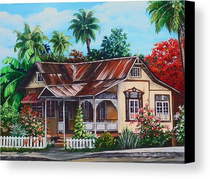 House Canvas Print Featuring The Painting Trinidad No 1 By Karin Dawn Kelshall Best