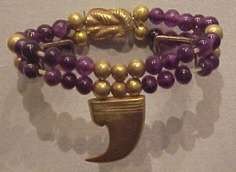 One of a Pair of Gold and amethyst claw anklets of Princess Sit-hathor-yunet  Egyptian, Dynasty 12, (ca 1897-1878 BCE)  From Lahun, tomb 8