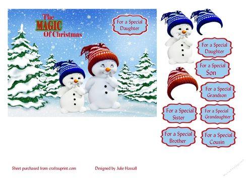 Christmas card with snowmen children   Craftsuprint