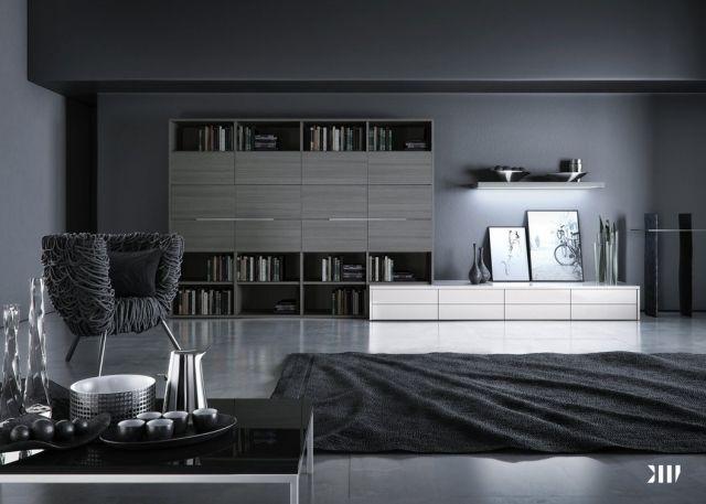 Modernes Wohnzimmer Dunkelgrau Schwarzer Teppich Sessel