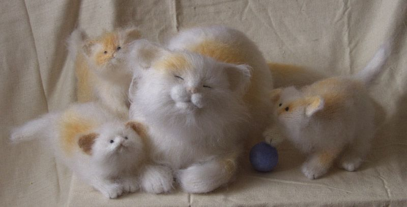 needle felting - cats