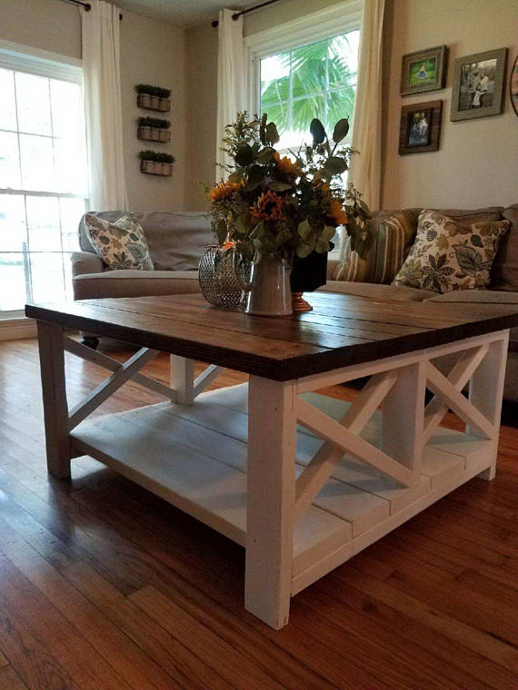 Double X Design Farmhouse Coffee Table Coffee Table W Two X