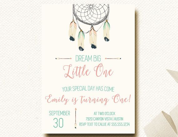 Boho Chic Tribal Girls First Birthday Dreamcatcher Invitation - invitation card for ist birthday