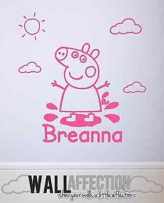 Peppa Pig Wall Decal Vinyl Sticker Personalised Childrens Bedroom