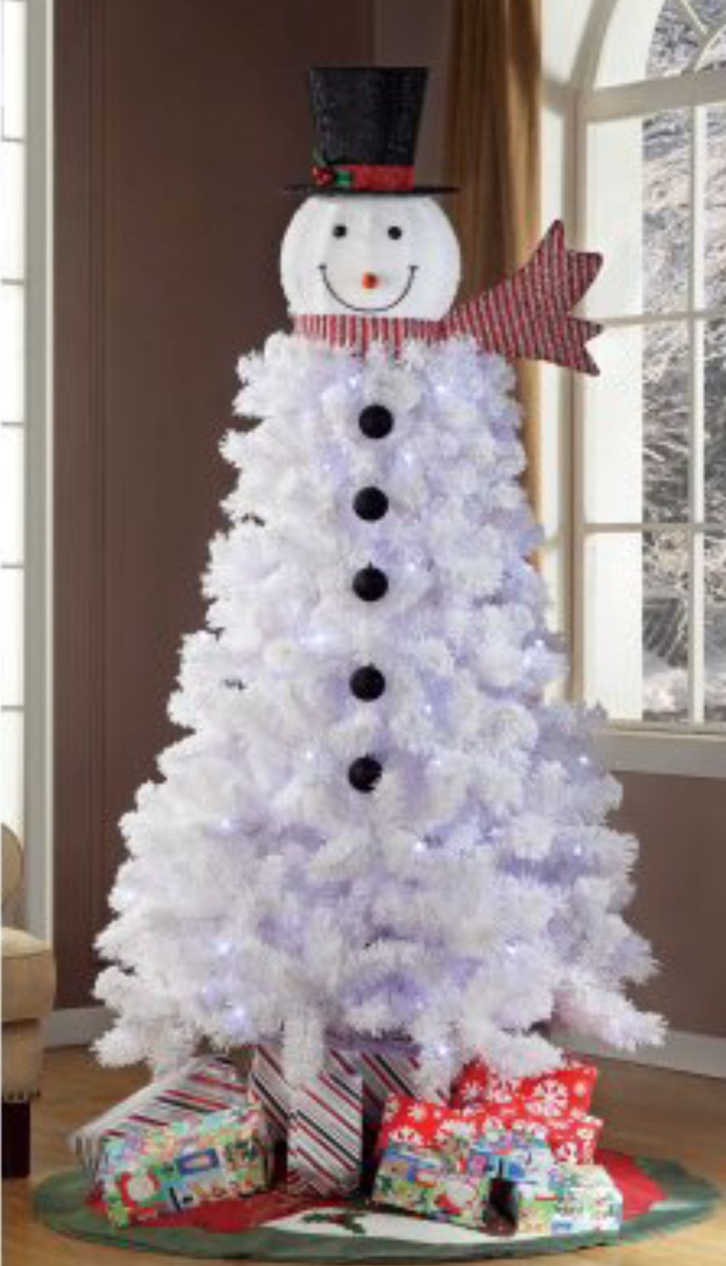 Pre Lit 6 5 Ft Snowman Christmas Tree From Walmart Cute Idea