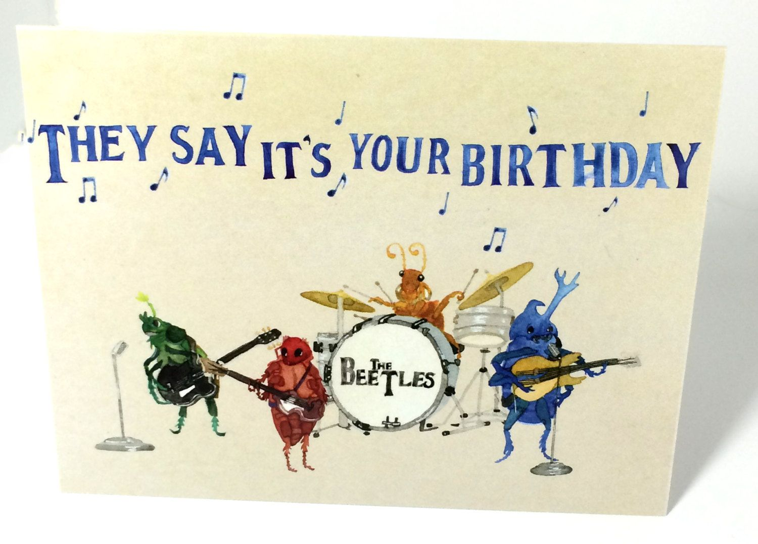 Pack Of 5 Beetles Beatles Greeting Cards With Envelopes 5 Pack Watercolor Funny Bug Stati Happy Birthday Beatles Happy Birthday Music Birthday Greetings Funny