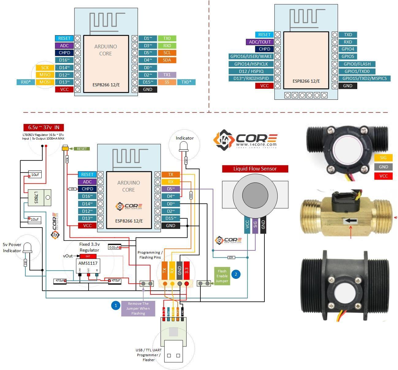 Wiring Esp8266 12 12e With G1 2 Liquid Water Flow Sensor On Wireless Monitoring 14core Com Sensor Water Flow Wireless