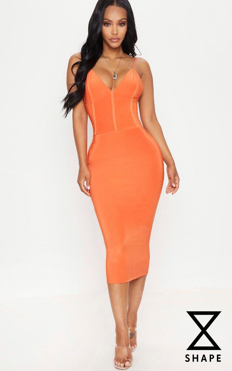 Pin By K On Glenn Midi Dress Orange Midi Dress Midi Dress Outfit [ 1180 x 740 Pixel ]