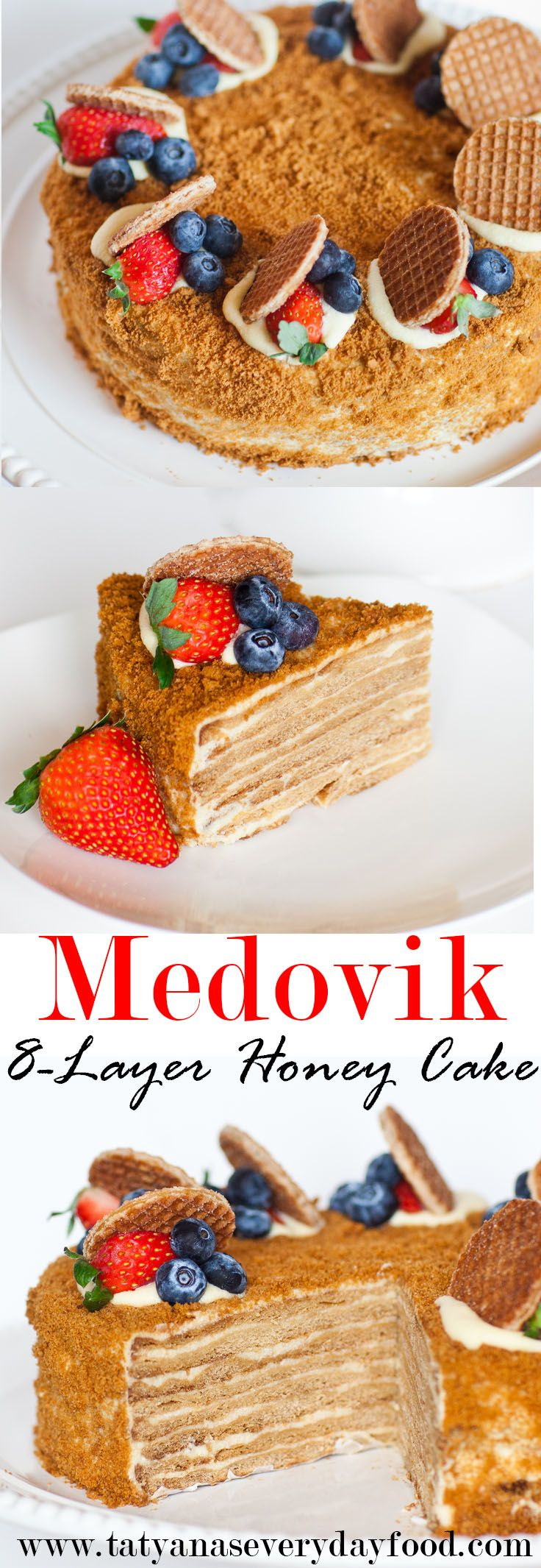 """The famous """"Medovik"""" cake:8 wafer-thin honey cake layers filled with a creamy custard creme! This delicious cake is often enjoyed with tea after dinner in homes across Ukraine and Russia! The custard creme recipe I'm sharing with you was passed down to me from my mother, who has been making this cake and creme for […] #honeycake"""