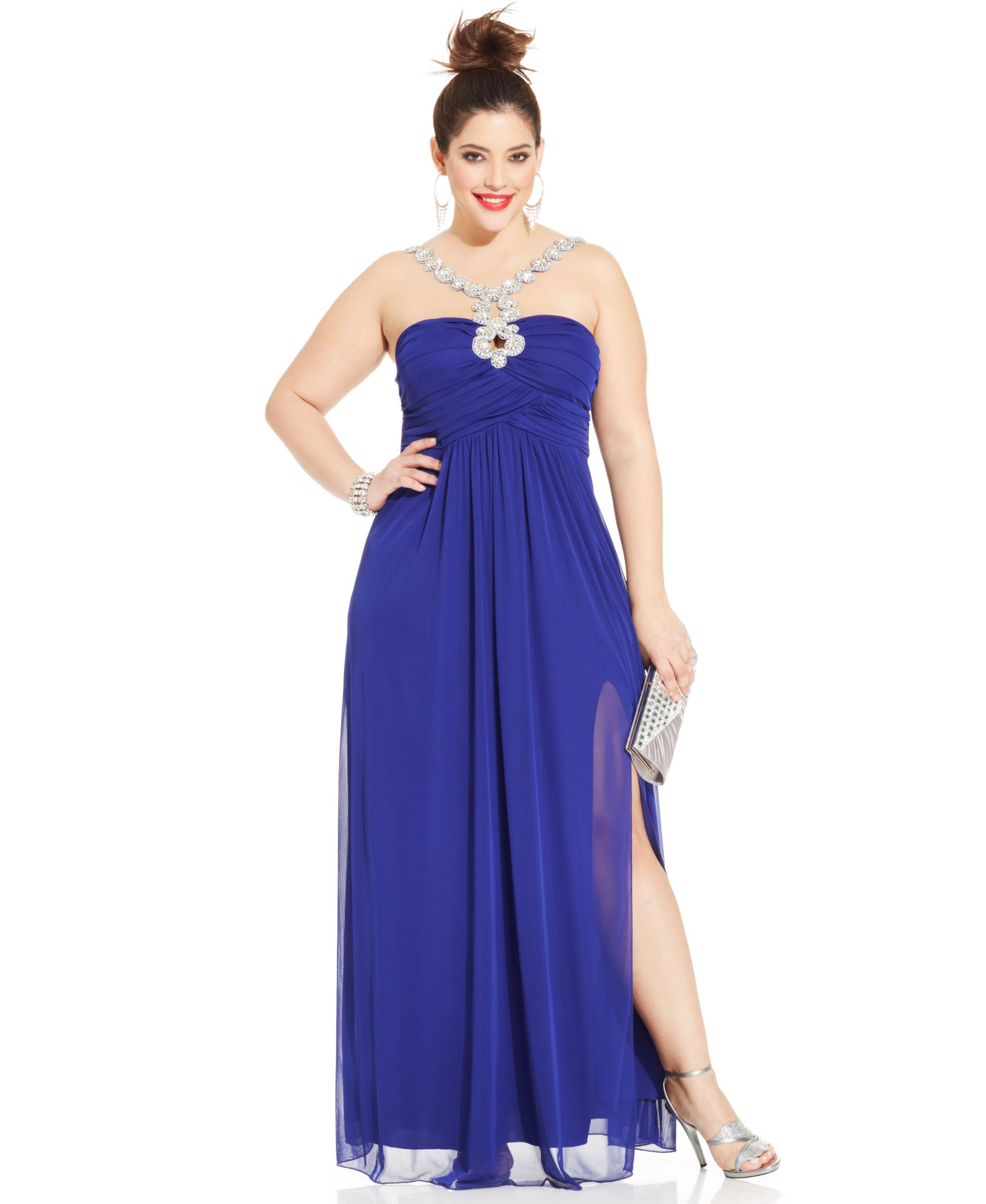Trixxi Plus Size Halter Beaded Gown Red Carpet Dressing Up
