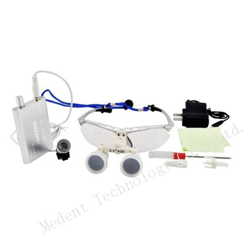 56.99$  Buy here - http://ali0jv.worldwells.pw/go.php?t=32620798731 -  Hot Sale Silver Binocular dental Loupe 3.5X420mm Dental magnifier Optical Glass + Portable LED Head Light Lamp