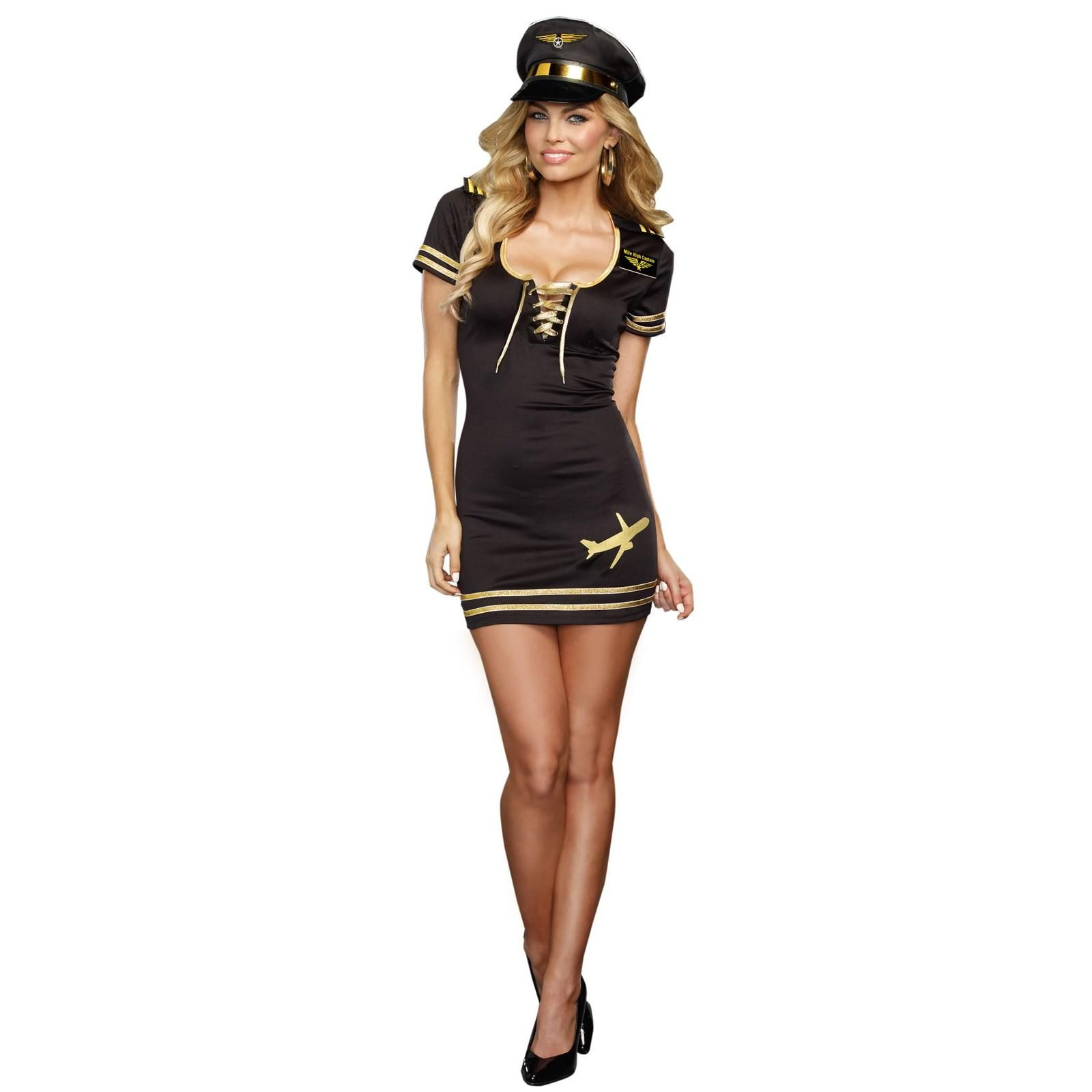 Service With A Smile Pilot Costume For Adults Flight Attendant Costume Pilot Costume Captain Costume