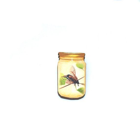 Fly Brooch Insect in a Jar Illustration Wood by LaurasJewellery, £6.00