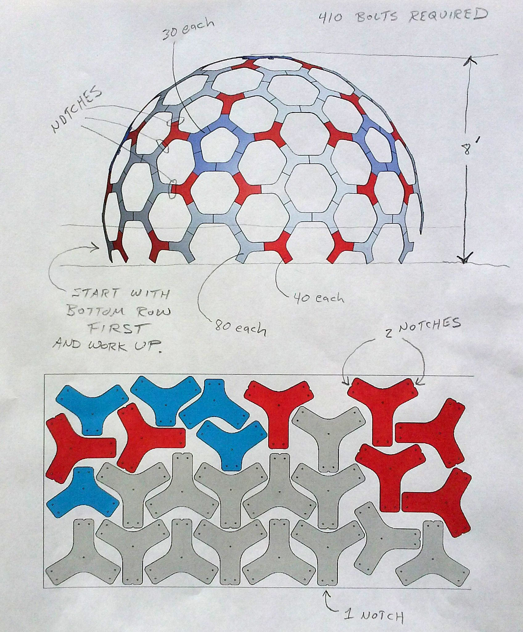 12\' dia. geodesic hex dome. CNC part layout on 4\'x8\' plywood with ...