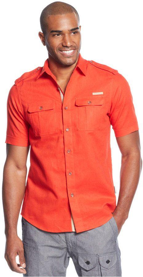 Polo Ralph Lauren Big /& Tall Men/'s Orange Linen Short Sleeve Button Down Shirt