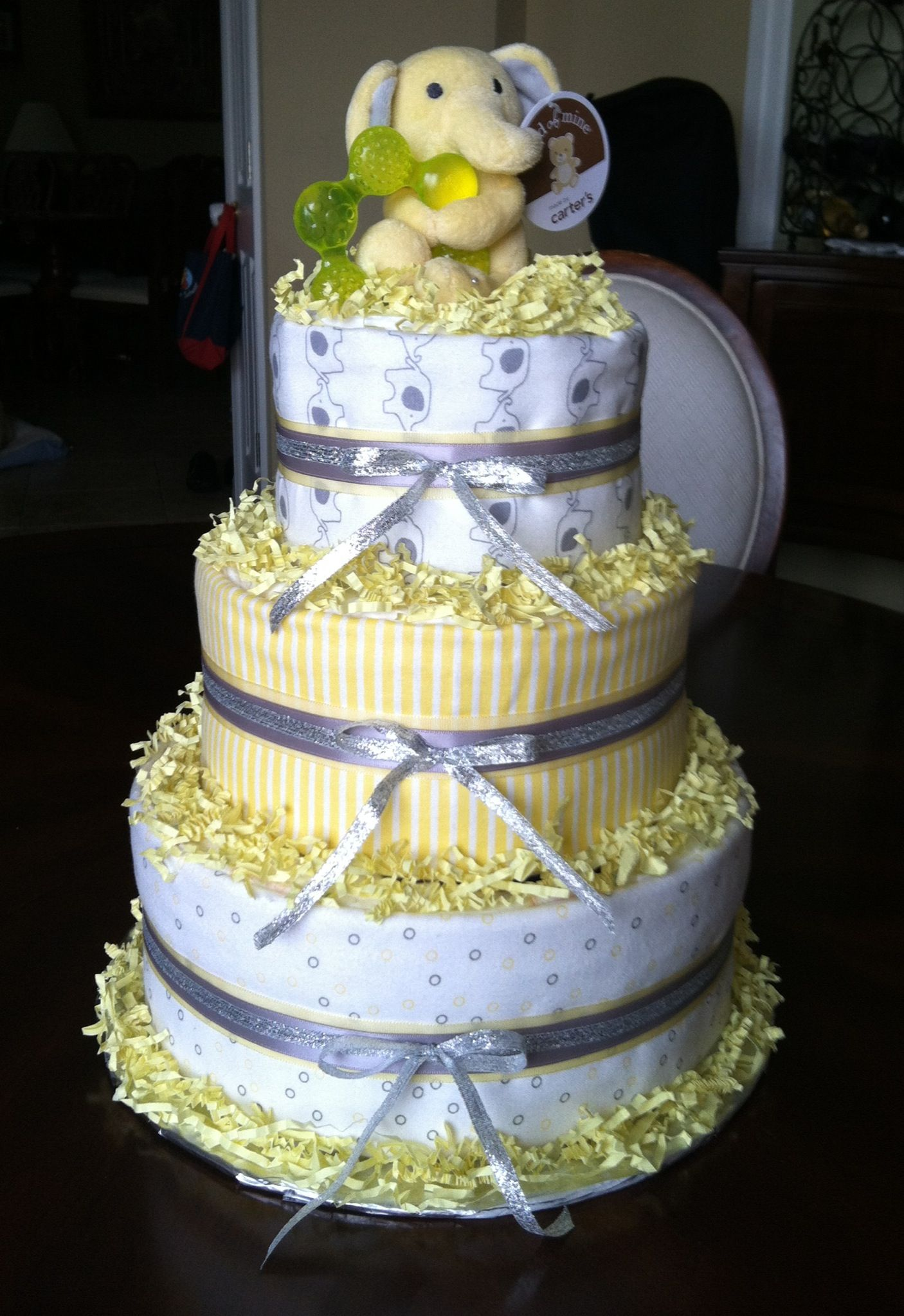 Gender Neutral Diaper Cake Use Rubber Duckie On Top With Images