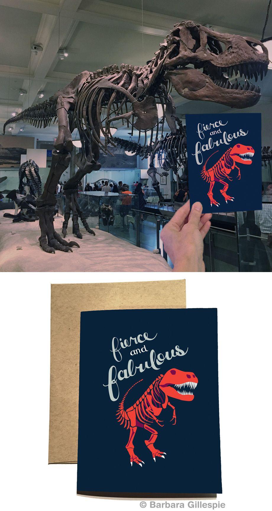 Tyrannosaurus Rex Card / Dinosaur Card / Fierce and