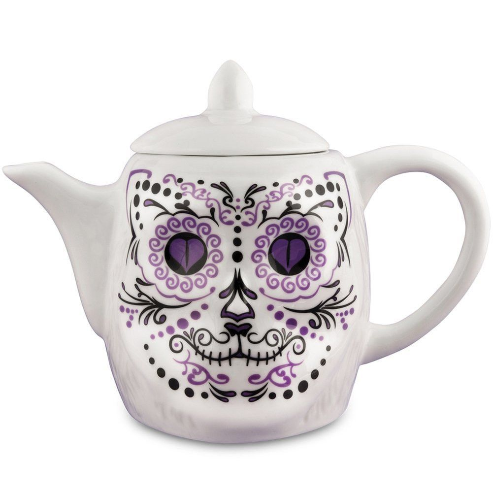Dias de los Muertos Porcelain Lucky Cat Sugar Skull Teapot