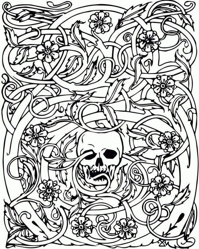 Elegant Image of Adult Halloween Coloring Pages #halloweencoloringpages