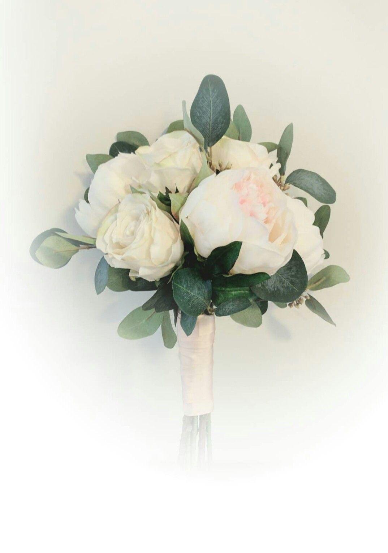 Petite Blush Peony and Cream Hydrangea Bridesmaid Bouquet Rustic Bouquet Eucalyptus Bouquet Small Bouquet